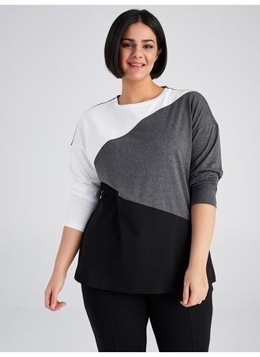 Faik Sönmez  Kontrast Renkli T-Shirt 61822 Ekru